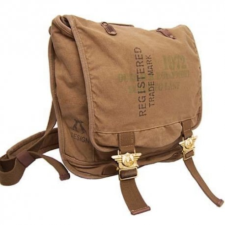 Outback Messenger/Laptop Bag-Heavy Duty Cotton, Leather and Brass 15 x 15 x 5 inches