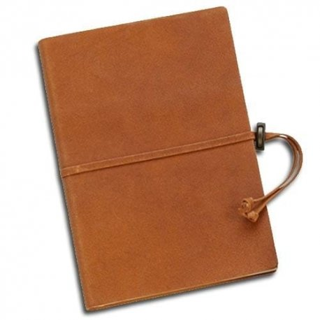 Cognac Italian Suede Journal with Tie-Lined Customizable 6 x 8.5 inches