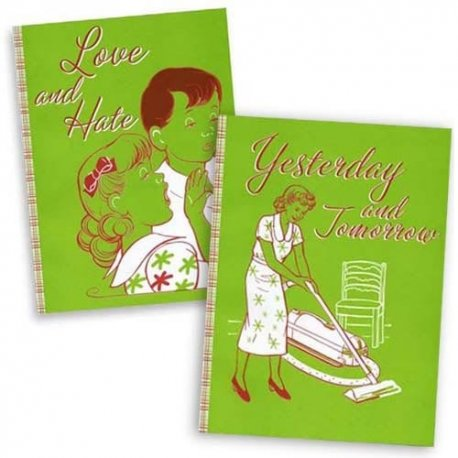 Set of 2-Yesterday and Tomorrow, Love and Hate-Notebook Journal Sketch-by designer Pamela Barsky 7 x 9.5 inches each