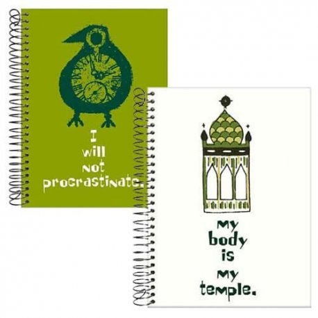 Motivational Notebook Journals/Set of 2-My body is My temple AND I will not procrastinate-by designer Pamela Barsky 7.5 x 9.5 in