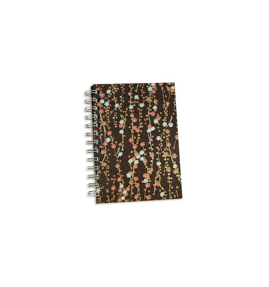 Bark Brown Fleurs Journal 5x7 Notebook Japanese Chiyogami