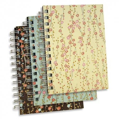 fleurs journal set of three 5x7 notebooks handmade japanese