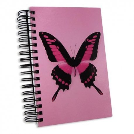 Jumbo Pink Butterfly Notebook Journal-super thick writing journal notebook 6x9 inches double-spiral-bound 300 lined pages