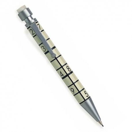 Sudoku Lovers' Mechanical Pencil - high quality, enamel and brushed chrome mechanical pencil, 6 erasers and replacement leads