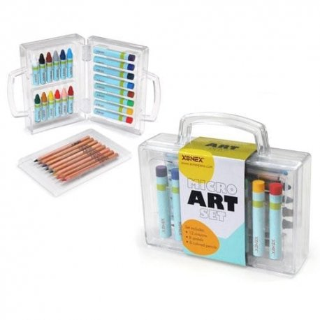 Micro Art Set Mini Mobile Art Studio by Xonex pencils crayons pastels carrying case