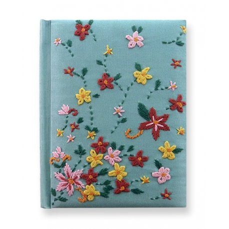 Exotic Hand-Embroidered Journal by Purva. Quilted cover, charming needlework. Handmade in India.