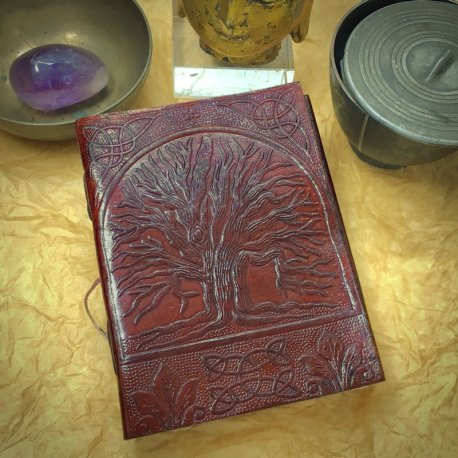 """Our """"Tree of Life"""" Journal is available in two sizes, with your choice of black or lavender lining (not shown here)."""
