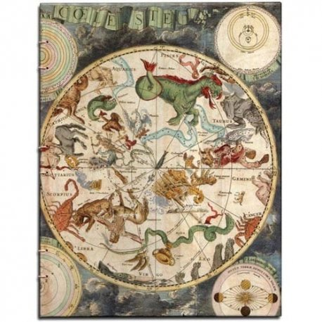 Double Hemisphere Celestial Map Journal-Coptic Bound 7x9