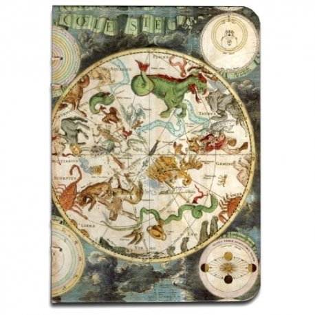 Double Hemispheres Celestial Maps Journal-Coptic Bound 5x7