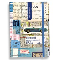 In Transit Travel Journal Front Cover View: Collages by Popular Artist Clare Goddard have Vintage Roadsters, Train Tickets, Road Maps, Postmarks, and other Travel Ephemera in Cool Blue Tones