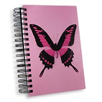 Jumbo Pink Butterfly Notebook Journal Front Cover View: The Swallowtail Journal Front Cover is Colorful and Inspiring.