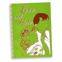"""""""Love and Hate"""" notebook journal sketchbook cover detail: Designer Pamela Barsky's play on relationships!"""