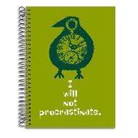"""I will not procrastinate."" journal notebook cover detail: Designer Pamela Barsky's illustrative play on the ticking clock of (?)"