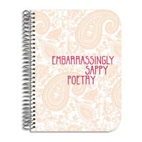 """""""Embarrassingly Sappy Poetry"""" journal notebook cover detail: Designer Pamela Barsky's Pink Paisley Floral Pattern."""