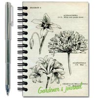 Gardener's Journal Notebook Front Cover and Included Telescoping Pen View: Book Cover Vintage Botanical Drawings is Designed by the Talented Canadian Artist Carolyn Gavin and the Included Telescoping Pen Means You'll Always Be Ready to Take Garden Notes.